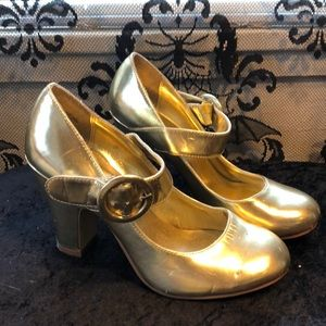 Gold Cosplay Heeled Mary Janes